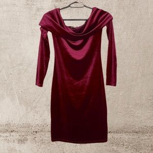🖤Deep Red Velvet Off the Shoulder Bodycon Dress